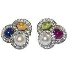 Unique Friedrich Gemstone Diamond Gold Earclips