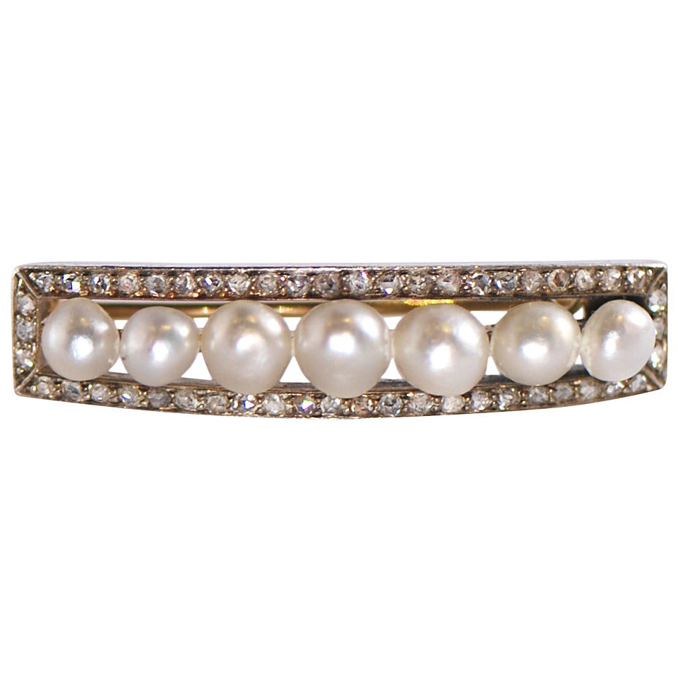 Antique Pearl Diamond Gold Brooch