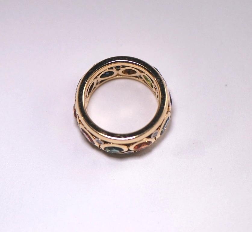 gemstone gold eternity band ring for sale at 1stdibs
