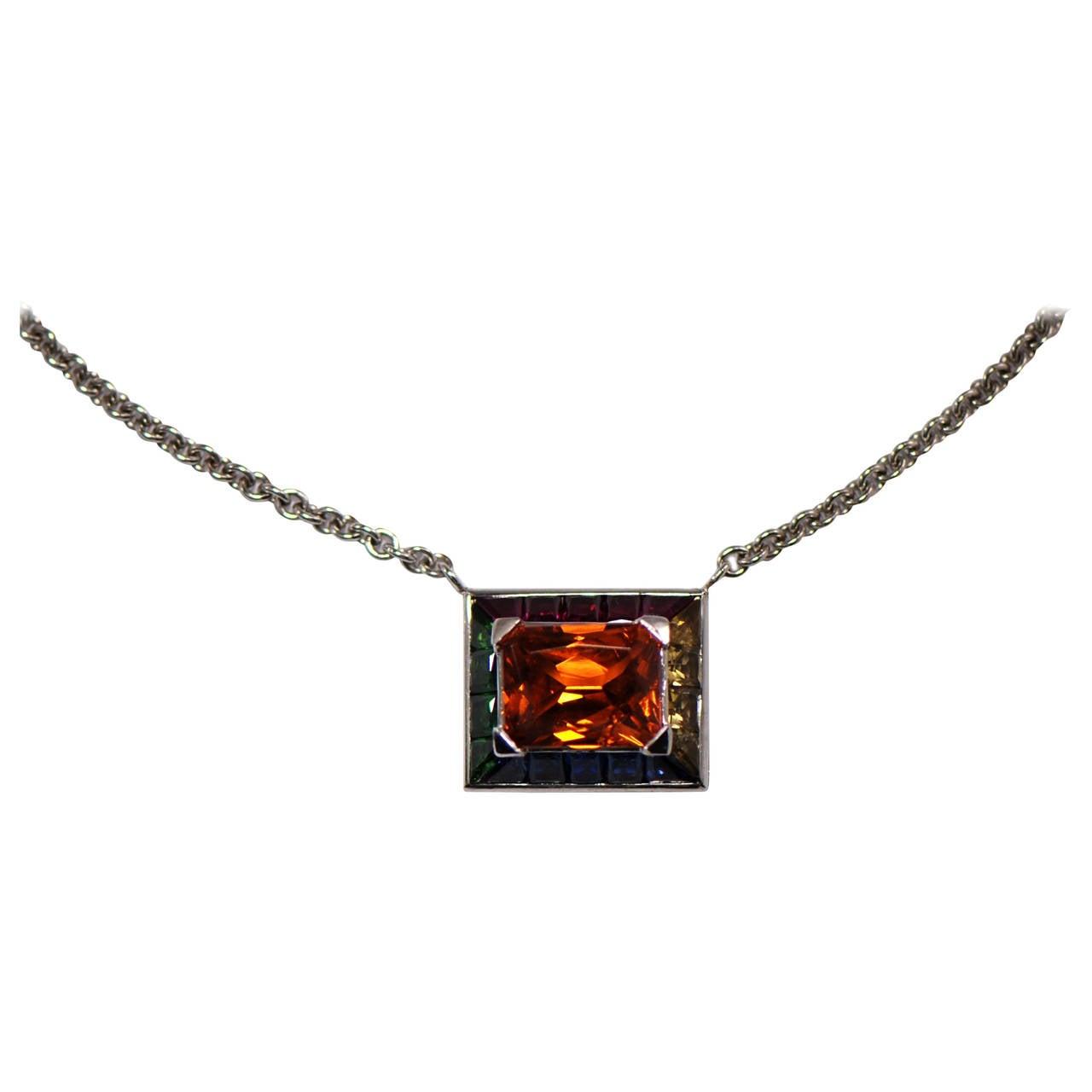 Unique Friedrich Mandarin Garnet Gemstone Gold Pendant Necklace