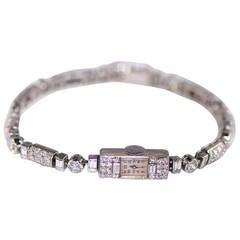 Jaeger-LeCoultre Ladies Platinum Diamond-Set Bracelet Wristwatch