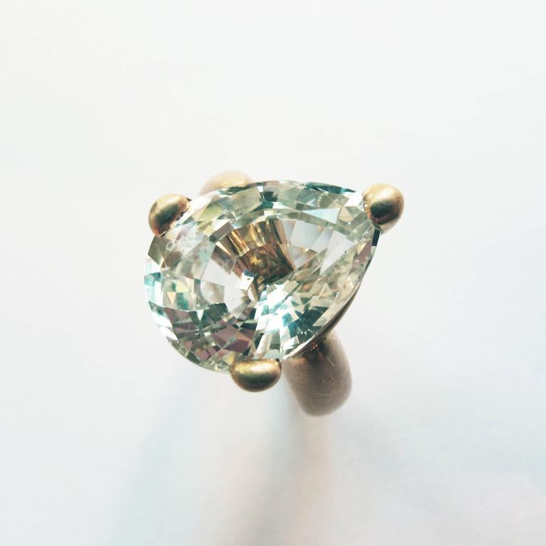 pear white blue sapphire yellow gold ring for sale