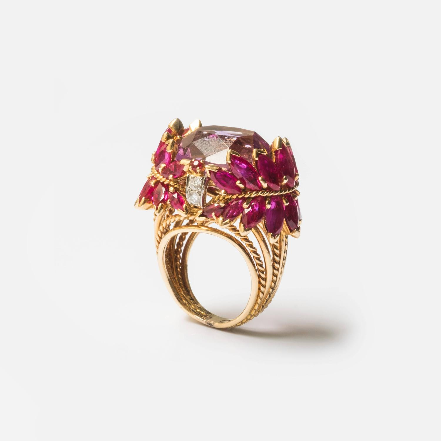 1960s Marchak Ruby Morganite Diamond Gold Platinum Ring For Sale at 1stdibs