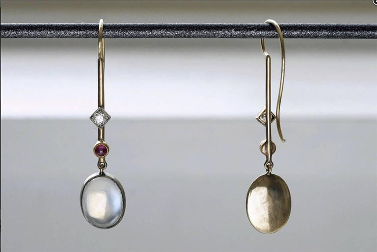 Edwardian 'Skate-Blade' Earrings with Moonstone, Diamond and Ruby 3