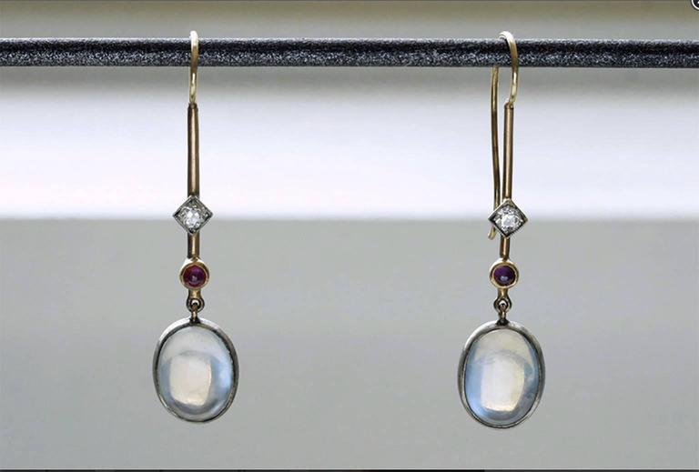 Edwardian 'Skate-Blade' Earrings with Moonstone, Diamond and Ruby 2