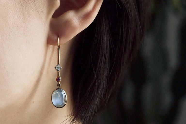 Edwardian 'Skate-Blade' Earrings with Moonstone, Diamond and Ruby 5