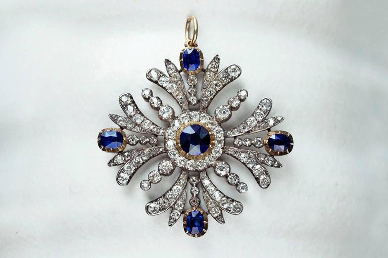 Early Victorian Sapphire Diamond Pendant 5