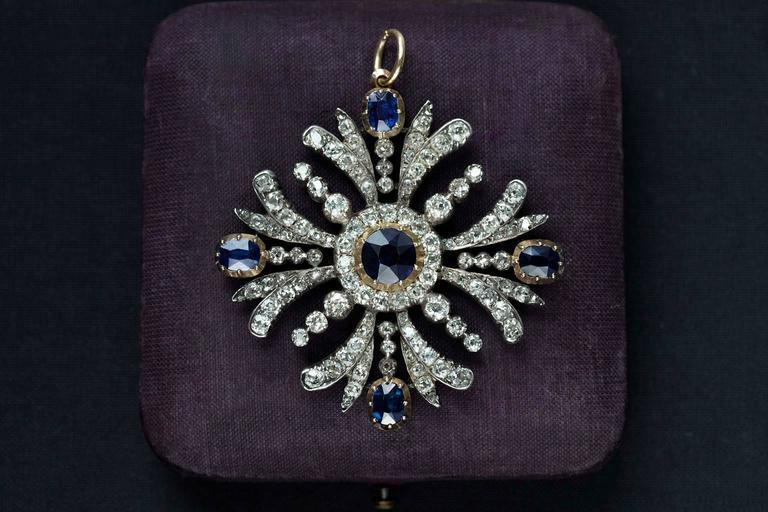 Early Victorian Sapphire Diamond Pendant 2