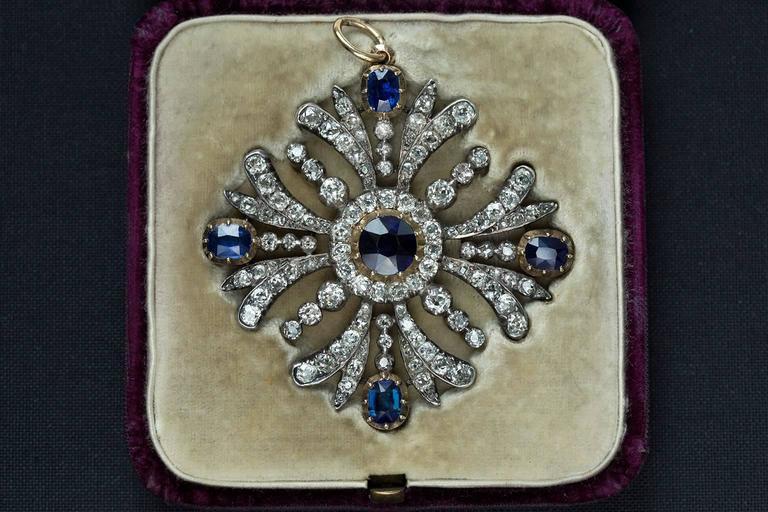 Early Victorian Sapphire Diamond Pendant 4