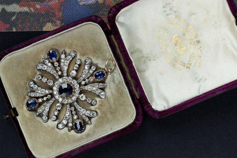Early Victorian Sapphire Diamond Pendant 7