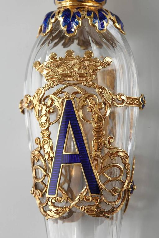Late 19th Century Exceptional Crystal Flask with Enameled Gold Box 5