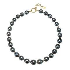 Faye Kim 18k Gold Black Tahitian Baroque Cultured Pearl Necklace