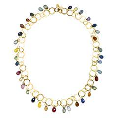 Faye Kim Multicolor Sapphire Briolette Gold Fringe Necklace