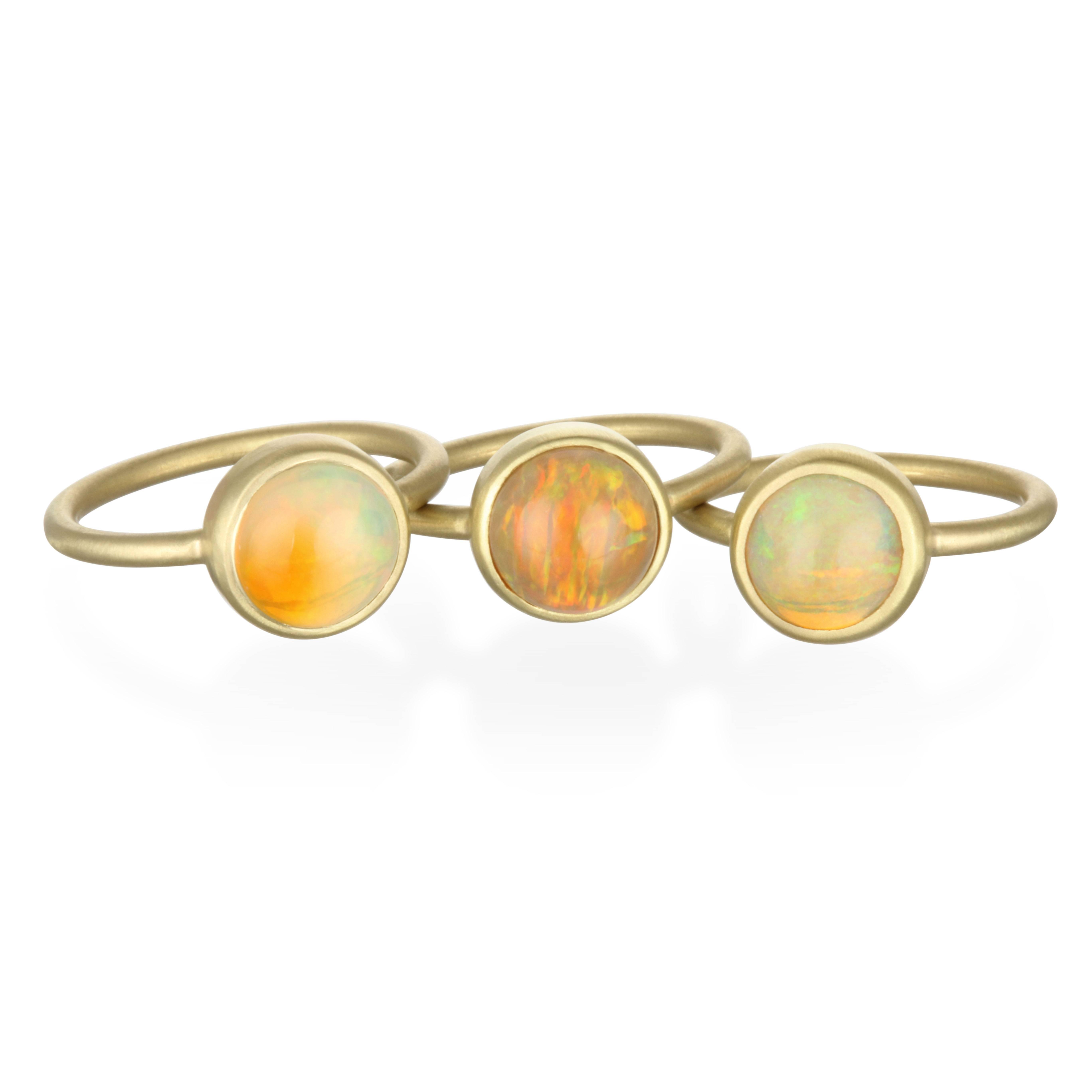 Faye Kim 18k Gold Ethiopian Opal Bezel Set Ring