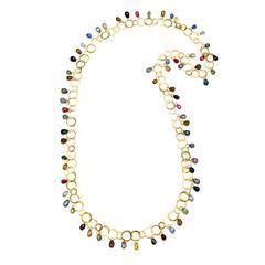 Faye Kim 18k Gold Umba Sapphire Briolette Fringe Link Necklace