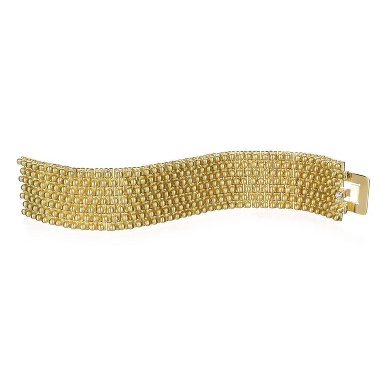 Faye Kim Handmade Flexible Gold Link Cuff Bracelet with Diamond