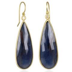 Faye Kim Blue Sapphire Bezel Drop Earring