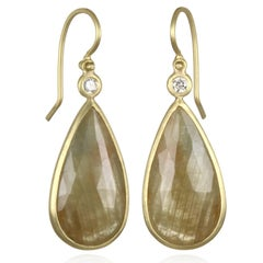 Faye Kim Yellow Sapphire and Diamond Gold Bezel Drop Earring