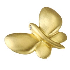 Faye Kim Gold Butterfly Charm with Diamond Eyes