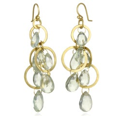 Faye Kim 18 Karat Gold Multi-Loop Briolette Green Amethyst Earrings