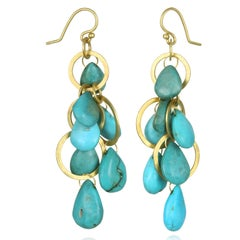 Faye Kim 18 Karat Gold Multi-Loop Turquoise Briolette Earrings