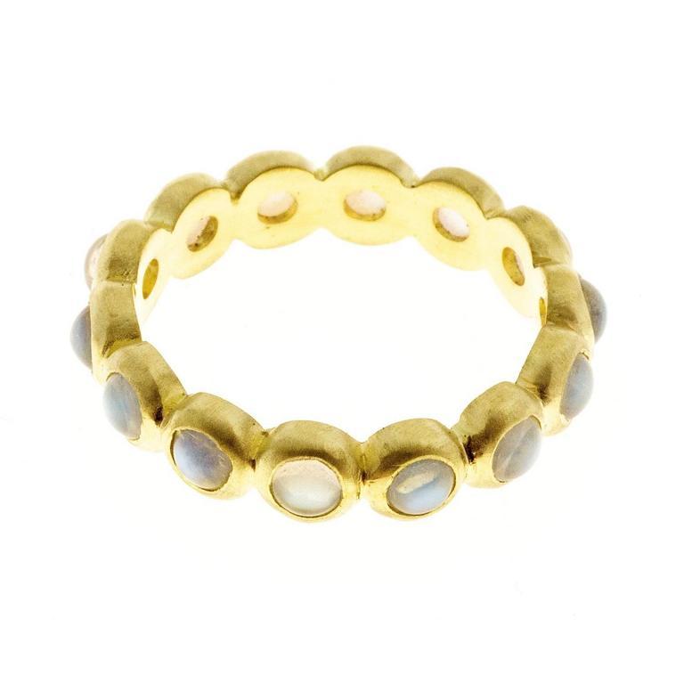 Faye Kim Burma Moonstone 18 Karat Gold Eternity Ring 2