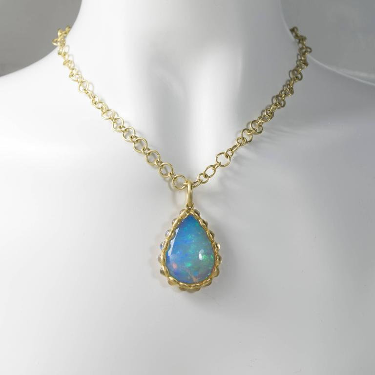 Faye Kim Ethiopian Opal and Moonstone Pendant In New Condition For Sale In Westport, CT
