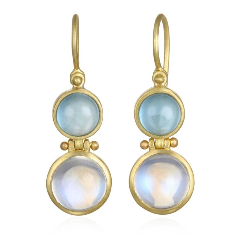Faye Kim Moonstone Milky Aquamarine Matte Gold Earrings For