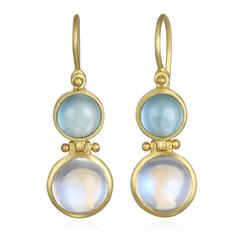 Faye Kim Moonstone Milky Aquamarine Matte Gold Earrings