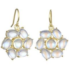 Faye Kim Ceylon Moonstone 18 Karat Gold Daisy Earrings