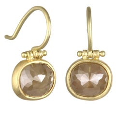 Faye Kim 18 Karat Green Gold Handmade Raw Diamond Hinge Drop Earrings