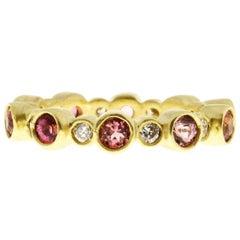 Faye Kim Pink Tourmaline Diamond Bezel Eternity Band Ring