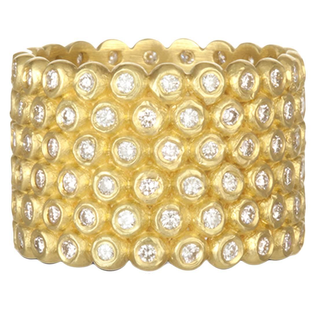Faye Kim 18k Gold Diamond Cigar Band Ring