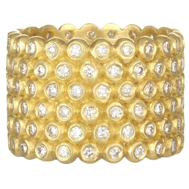 Faye Kim 18k Gold Diamond Cigar Band Ring For Sale