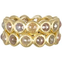 Faye Kim 18 Karat Milky Diamond Bezel Eternity Stack Rings