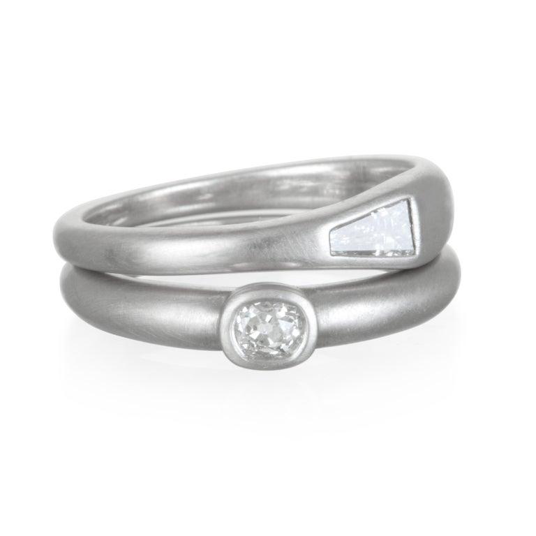 Modern Faye Kim Platinum Old European Cut Diamond Bezel Ring For Sale