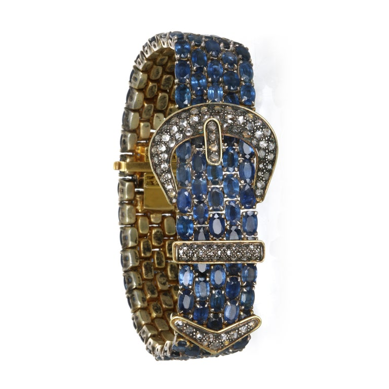 Vintage 14 Karat and Sterling Silver Diamond Sapphire Mesh Bracelet In Good Condition For Sale In Westport, CT