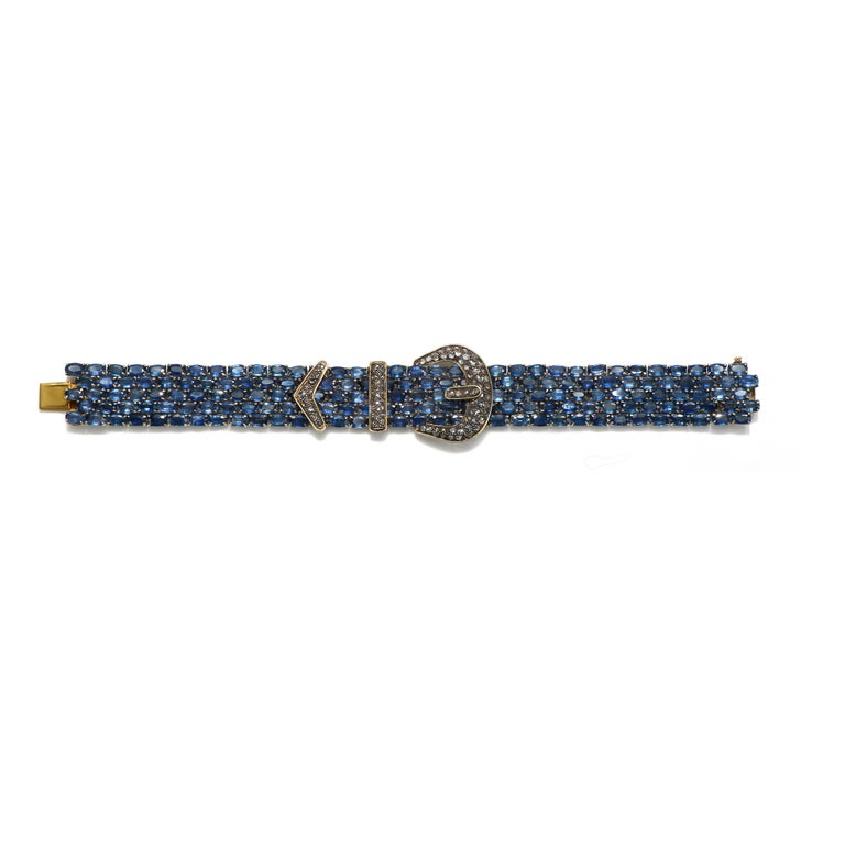 Mixed Cut Vintage 14 Karat and Sterling Silver Diamond Sapphire Mesh Bracelet For Sale