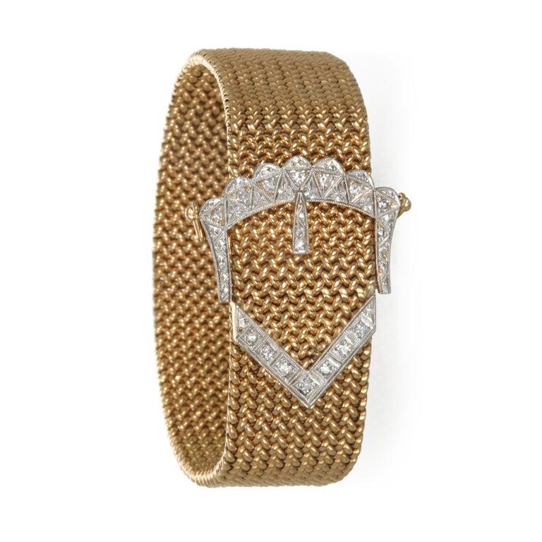 Retro Vintage 18 Karat Gold Mesh Bracelet with Diamond Buckle For Sale