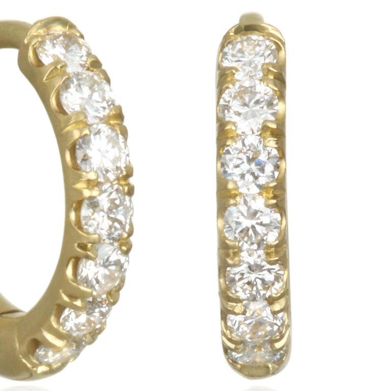 Contemporary Faye Kim 18 Karat Gold Diamond Huggy Hoop Earrings For Sale