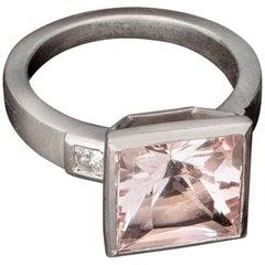 Faye Kim Platinum Princess Cut 4.20 Carat Pink Morganite Ring with Diamonds
