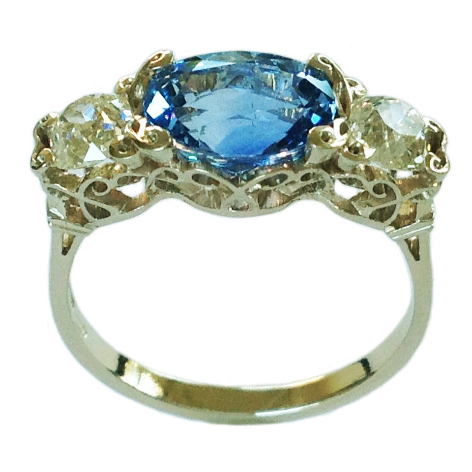 Dalben Sapphire Diamond Gold Engagement Ring