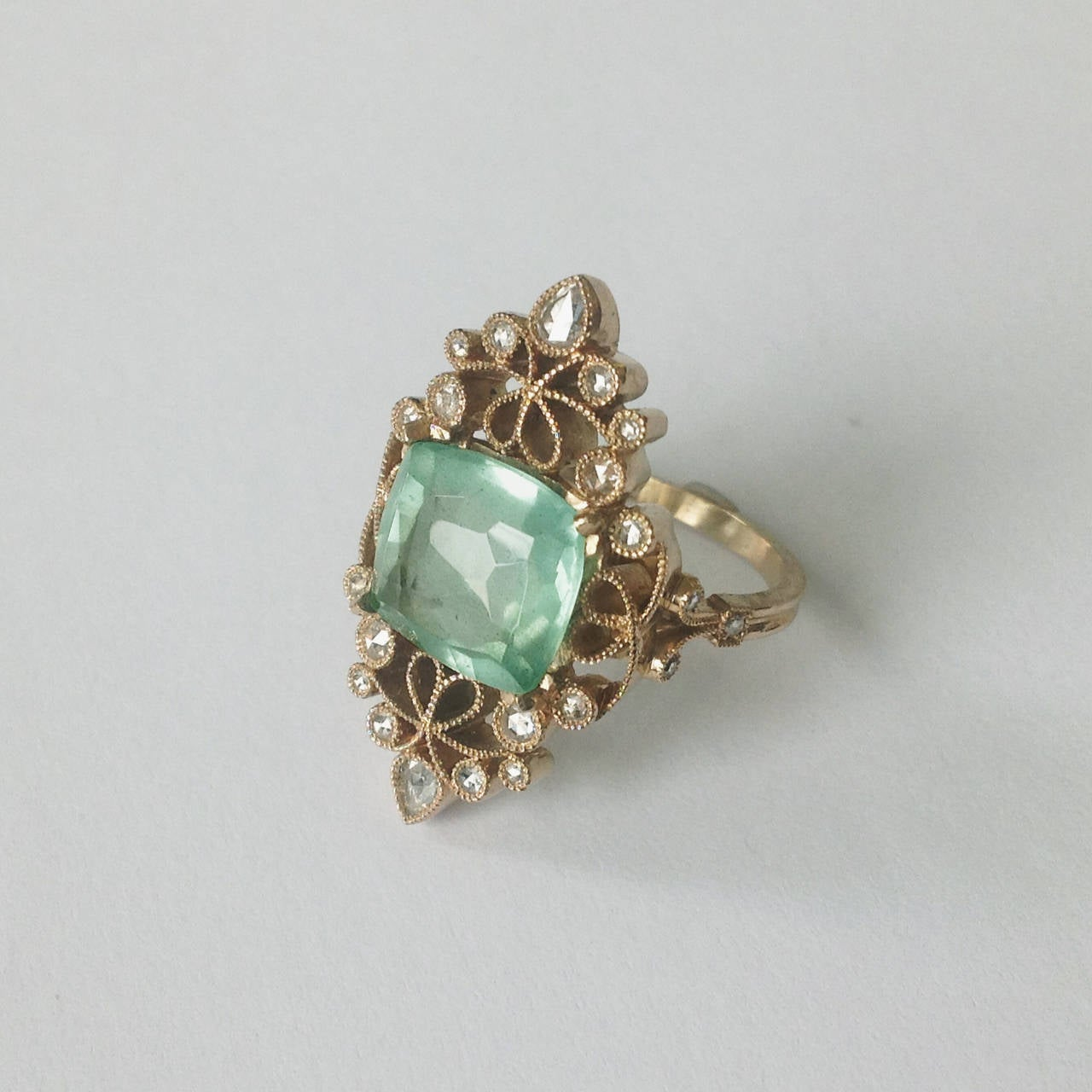 Dalben 4.50 Carat Aquamarine Diamond Gold Ring 2