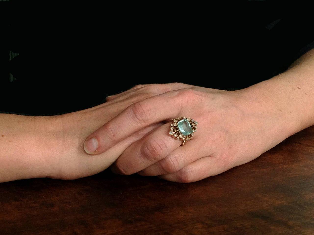 Dalben 4.50 Carat Aquamarine Diamond Gold Ring 10