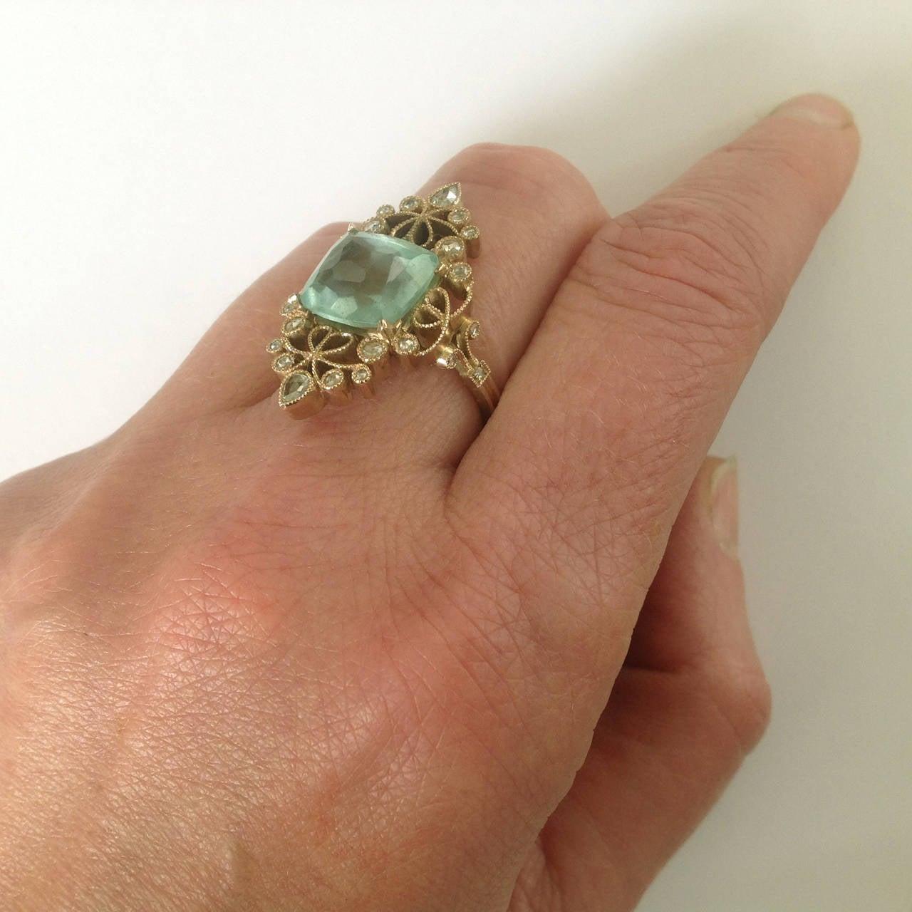 Dalben 4.50 Carat Aquamarine Diamond Gold Ring 9