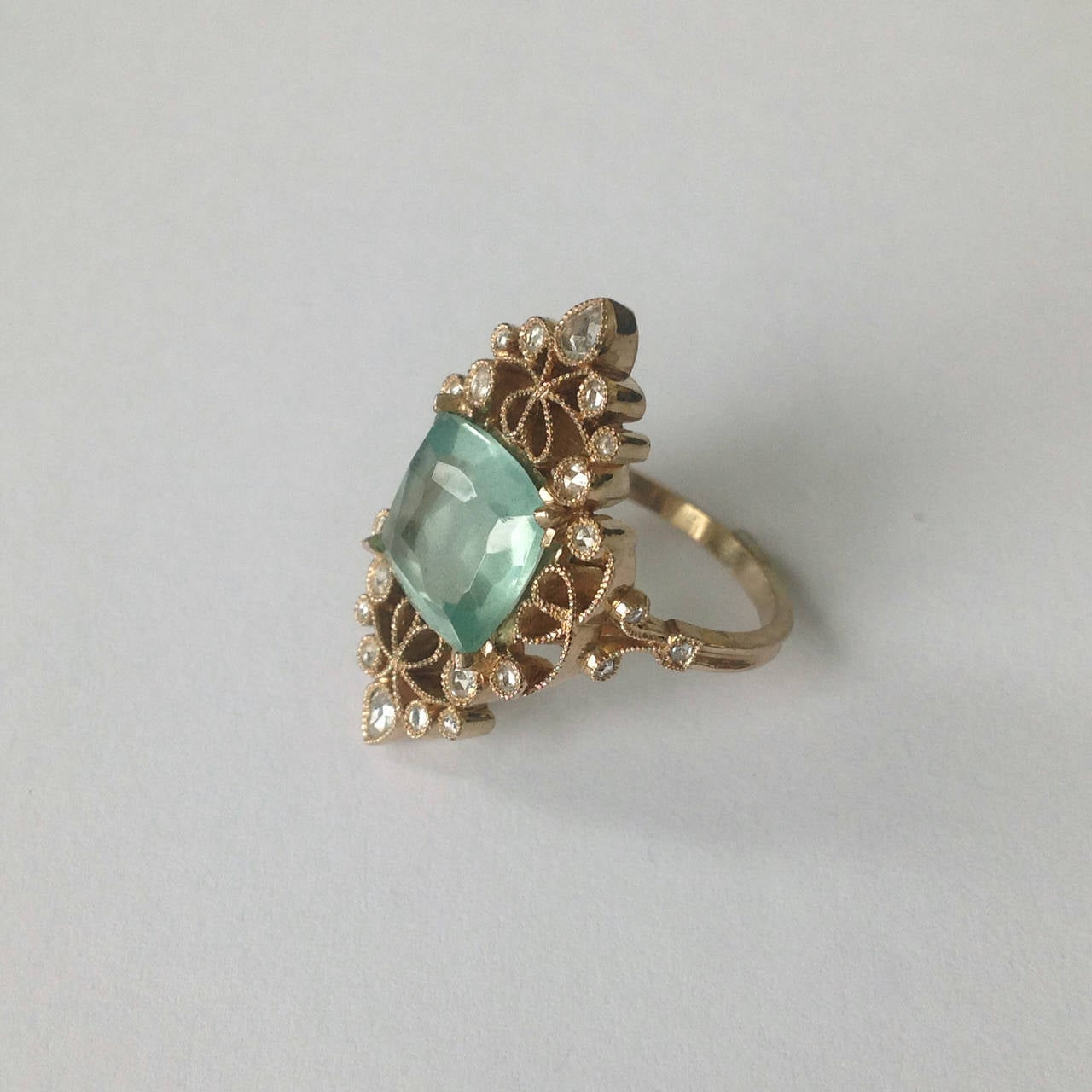 Dalben 4.50 Carat Aquamarine Diamond Gold Ring 4