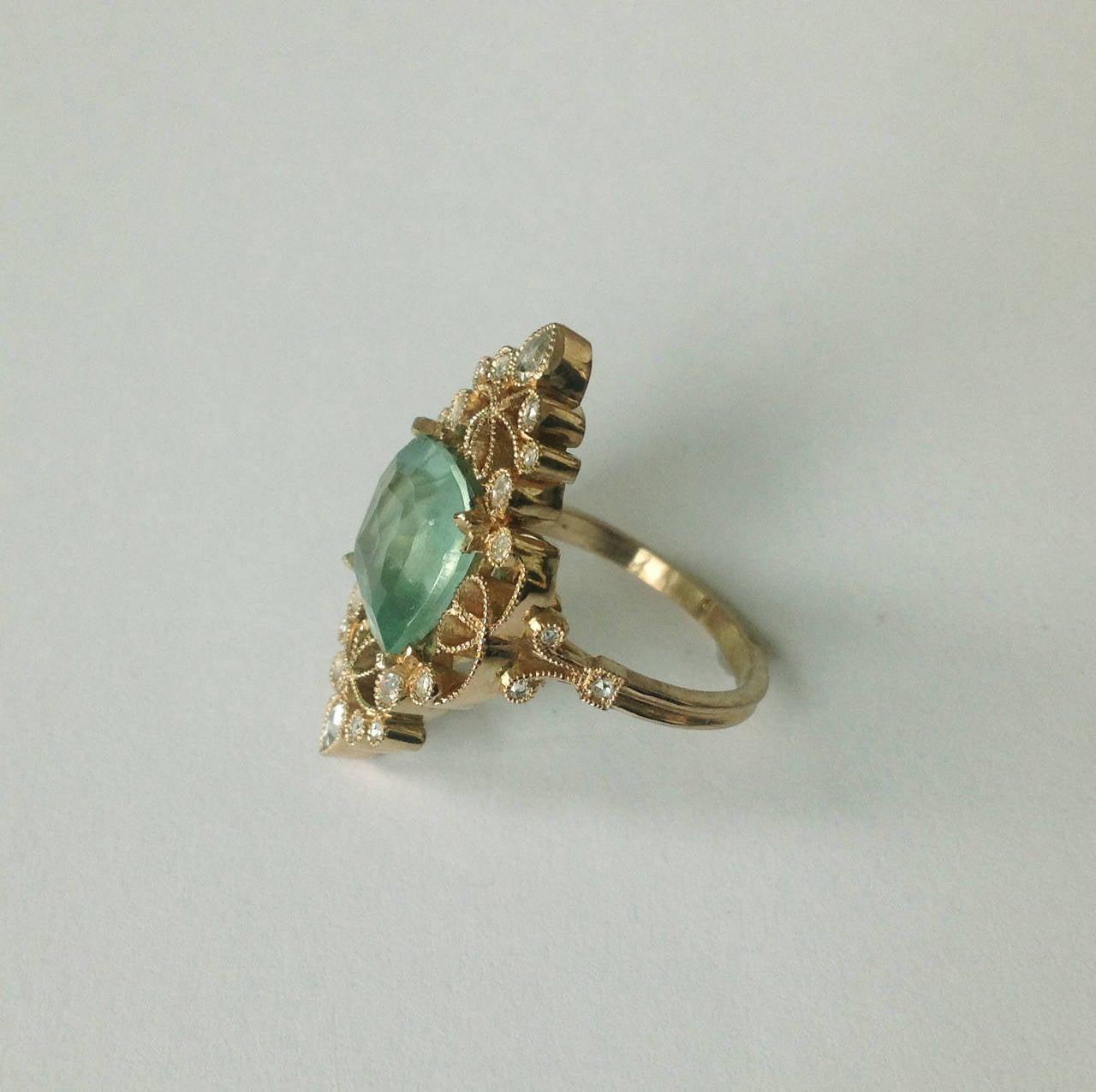 Dalben 4.50 Carat Aquamarine Diamond Gold Ring 3