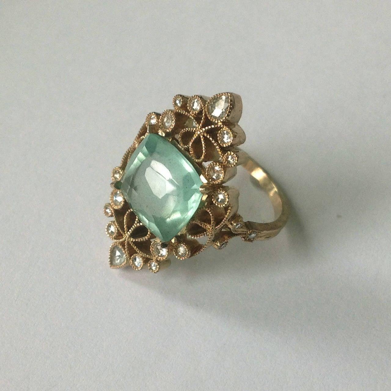 Dalben 4.50 Carat Aquamarine Diamond Gold Ring 5