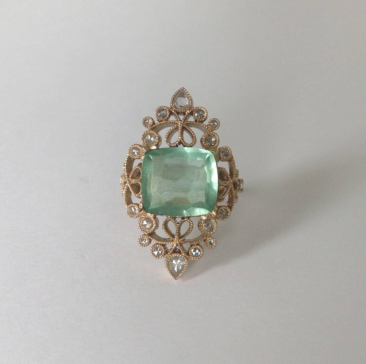 Dalben 4.50 Carat Aquamarine Diamond Gold Ring 6