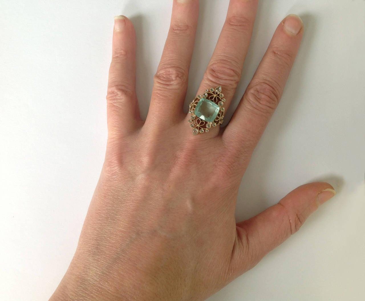 Dalben 4.50 Carat Aquamarine Diamond Gold Ring 7